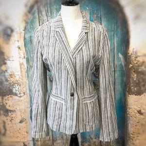 Maurices-Black & White Striped Linen Blazer